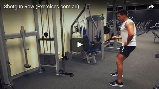 How To Do Shotgun Row Shotgun Row Exercise Shotgun Row is a unique exercise in that it works various muscles from the back, shoulder, arms, obliques, glutes and quads but specifically targets the lats. Unlike other rowing exercises that follow an up and down or forward to backward pathway