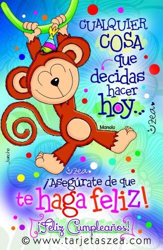 Tarjeta de cumpleaños para estar feliz Mono Manolo colgado de una liana u00a9 ZEA www tarjetaszea