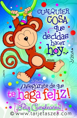 Tarjeta de cumpleaños para estar feliz-Mono Manolo colgado de una liana © ZEA www.tarjetaszea.com