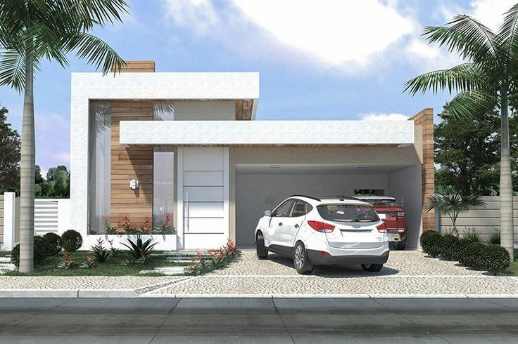 Projeto de casa térrea com 3 quartos - Projetos de Casas, Modelos de Casas e Fachadas de Casas