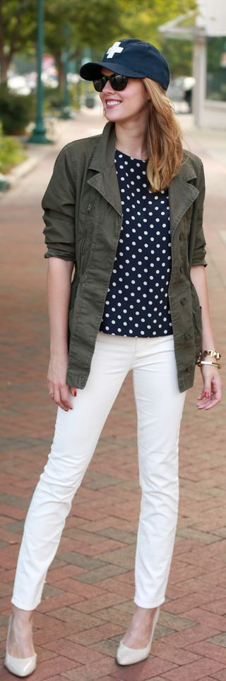 Fall/ winter outfit ideas. Military jacket. Polka dot white/blue top. White pants. What I Wore | Casual  Cool On What I Wore