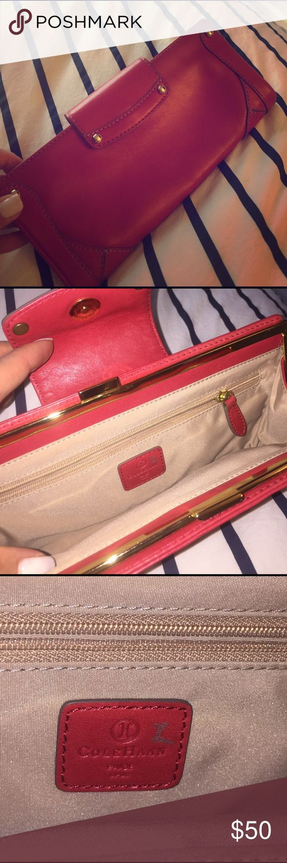 """Cole haan red leather clutch! From a sample sale (notice silver mark on tag and missing studs on back in pictures). Perfect for a night out. Soft leather. Gold hardware. Includes inter zipper pocket. About 12"""" long. Cole Haan Bags Clutches & Wristlets"""