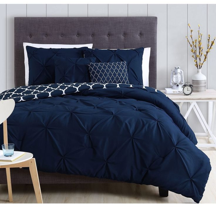 Dark Navy Blue White Moroccan Pinch Pleated Comforter King Set Plush Pinched Pleat Quatrefoil Bedding Chic Pintuck Diamond Tufted Texture Themed