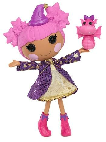 Say hello to Star Magic Spells ~ she was sewn from a wizard's hat and loves to cast magic spells. Sometimes she waves her wand at her pet dragon turning her into a frog. Her sewn on date is July 20th, which falls on Moon Day. What do you like best about this spellbinding new #Lalaloopsy?