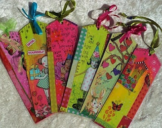 Mixed media bookmarks - what fun!  :)  these are adorable!  happy and colorful!  :)