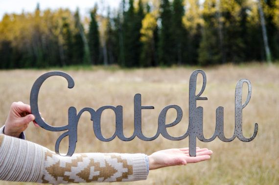 "Grateful sign (large)- raw steel (23""w x 9""h) (metal art, wall decor,  fall, thankful, give thanks, gratitude)"