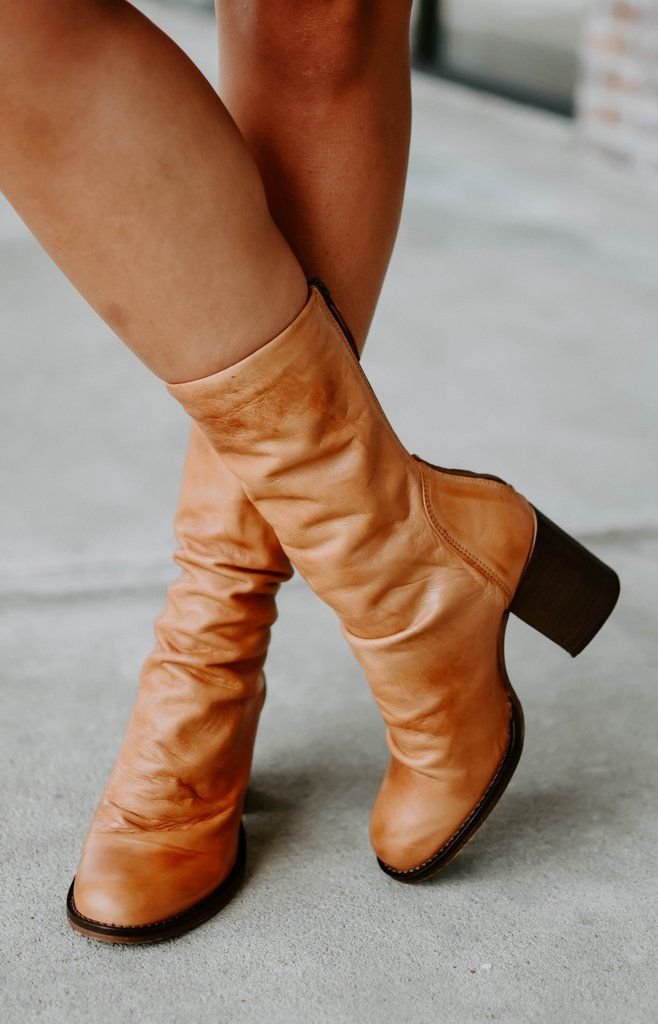 d34dcbba272 Free People: Elle Block Heel Boots - Tan | All New! in 2019 | Boots ...
