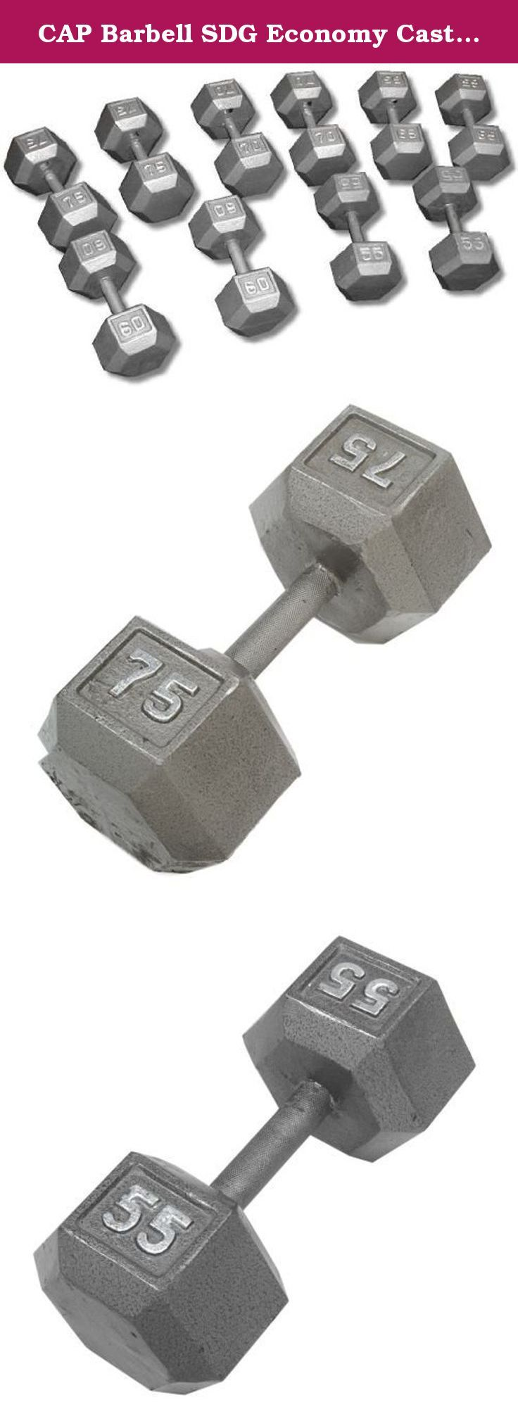 CAP Barbell SDG Economy Cast Iron Hex Dumbbell Set - 55 to 100 lbs (10 pairs) - Garage Gym Dumbbell Expansion Set. Economy Cast Iron Hex Dumbbell Sets from CAP Barbell - Hex dumbbell sets are often the perfect dumbbell choice for home gym and garage gym use. They are economical and space efficient and for a lot of people that is the most important criteria when purchasing dumbbells for home use. Hexagonal dumbbell heads are non-rolling when set down on the floor or racks. Cast iron heads...