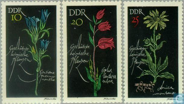 Werner Klemke - Briefmarken - DDR - Geschützte Pflanzen - 1966