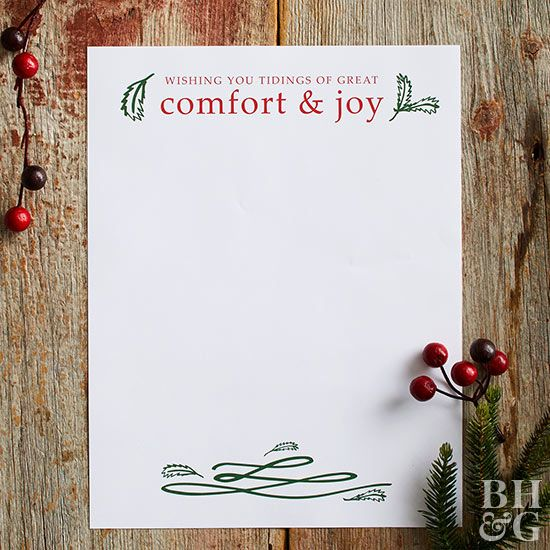 Send a heartfelt note to friends and family with a sweet holiday greeting. This red and green design is perfect for a traditional Christmas letter, and looks adorable packaged in a red or green envelope!