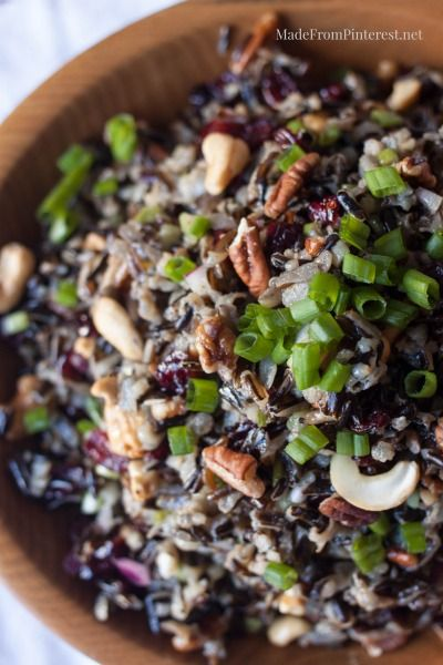 Cold Rice Salad for Fall-Could eat bowlfuls of this by myself! Nuts, wild rice, cranberry and orange are amazing together!