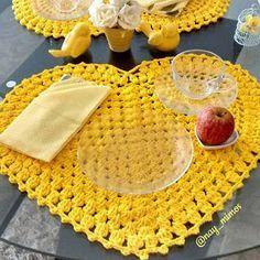 corações americanos croche mesa decoração croche com receita
