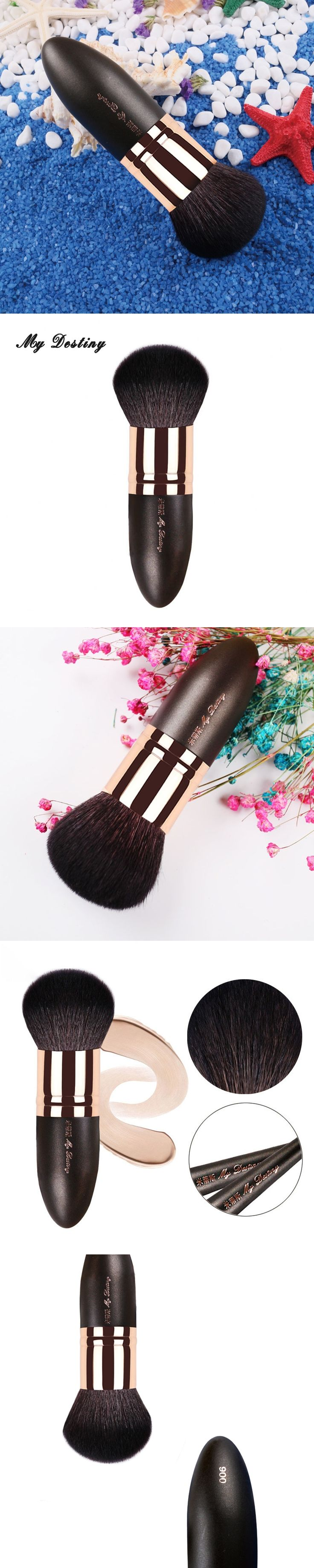 MY DESTINY Goat Hair Round Powder Brush Kabuki Make Up Makeup Brushes Pincel Maquiagem Brochas Maquillaje Make Up Kwasten 006