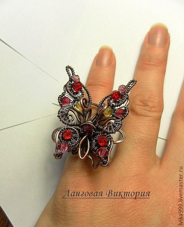 """Купить Кольцо """"Бабочка"""". - украшения из проволоки, кольцо ручной работы, перстень, авторская ручная работа"""