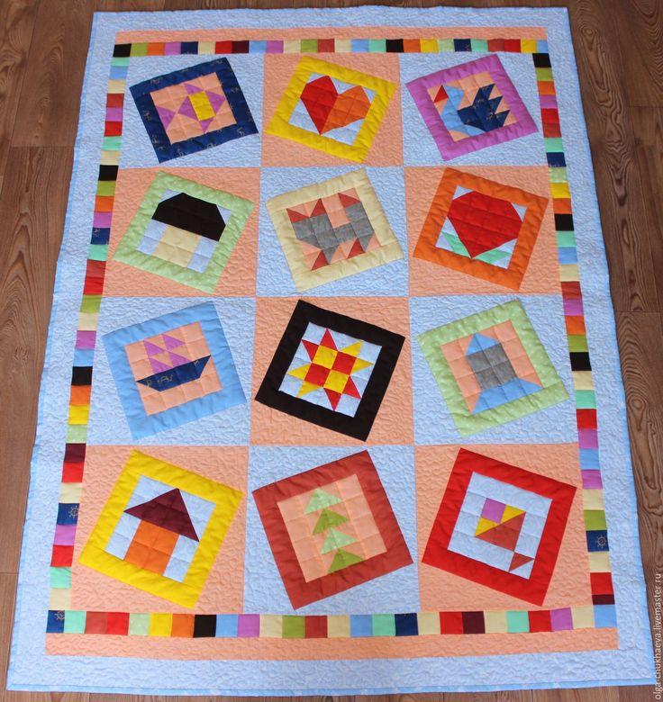 """Купить Детское лоскутное покрывало """"Игра в кубики"""" - лоскутное шитье, лоскутное одеяло, лоскутное покрывало"""