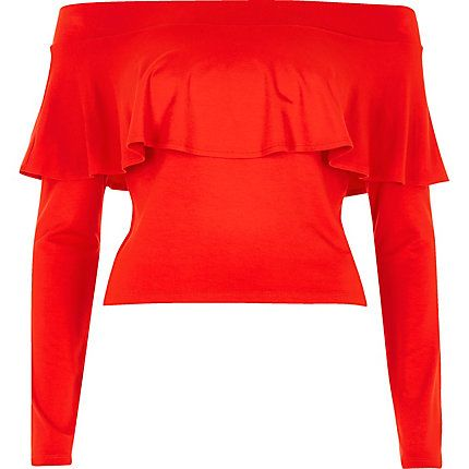 Red deep frill bardot crop top £18.00