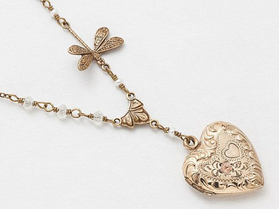 Antique Gold Locket Necklace Repousse Heart by steampunknation