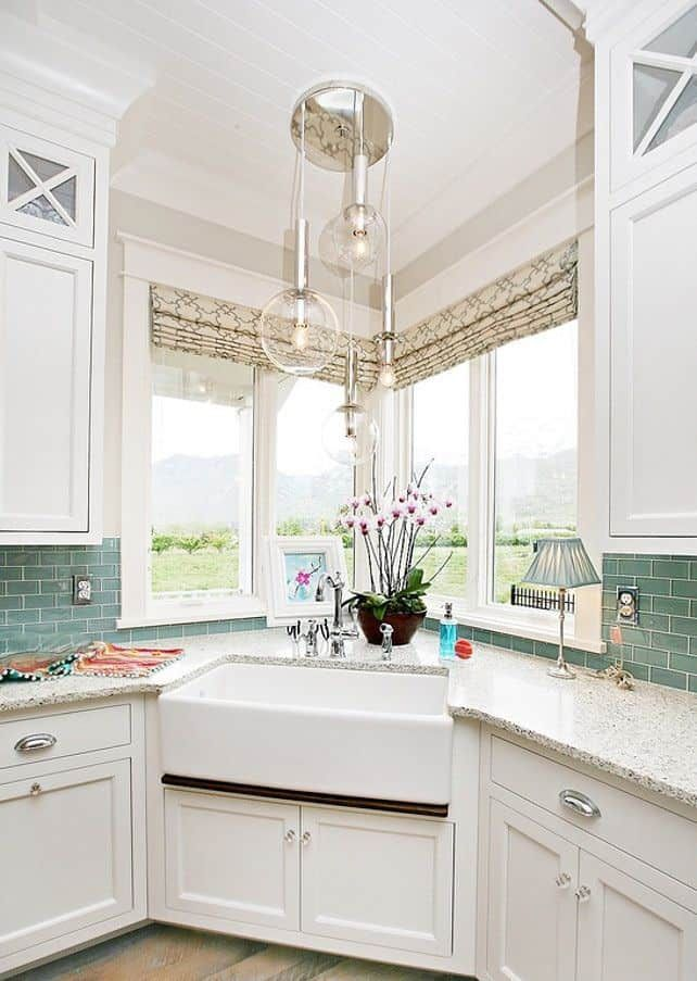 White Apron Sink With Corner Windows By Homebunch Com Corner Sink Kitchen Kitchen Sink Design Kitchen Sink Decor