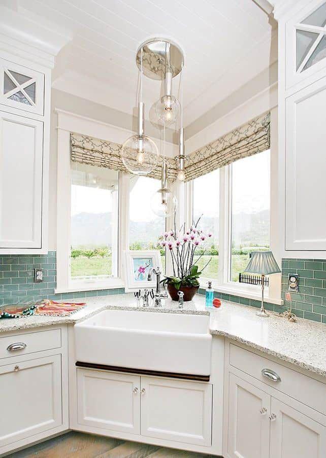 White Apron Sink With Corner Windows By Homebunch Com Corner Sink Kitchen Kitchen Sink Design Kitchen Sink Decor