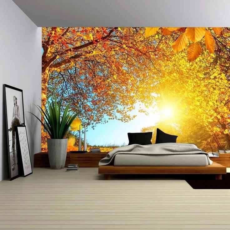 Extraordinary Autumn Bedroom Interior Decoration With Mural Autumn Wallpaper Bedroom Interior Wallpaper Decor Interior Design Bedroom