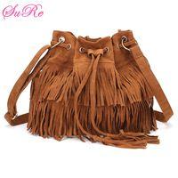 Women Tassel Drawstring Chain Bucket Bags Shoulder Bags Handbags