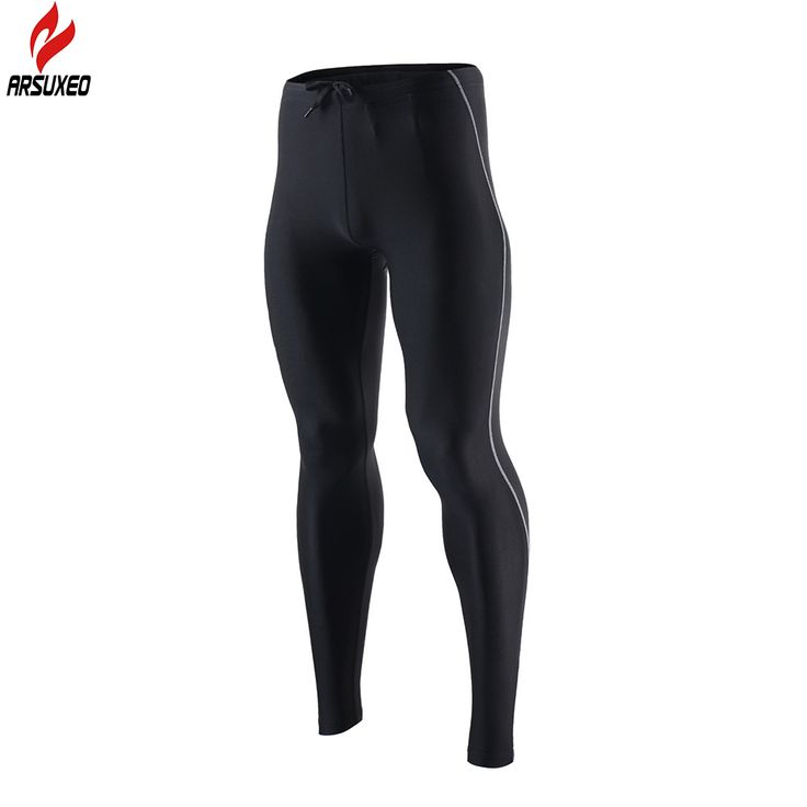 ARSUXEO Men's Sports Compression Tights  Running Pants  Elastic Tights Run Fitness Workout GYM Reflective pants Clothing 9013
