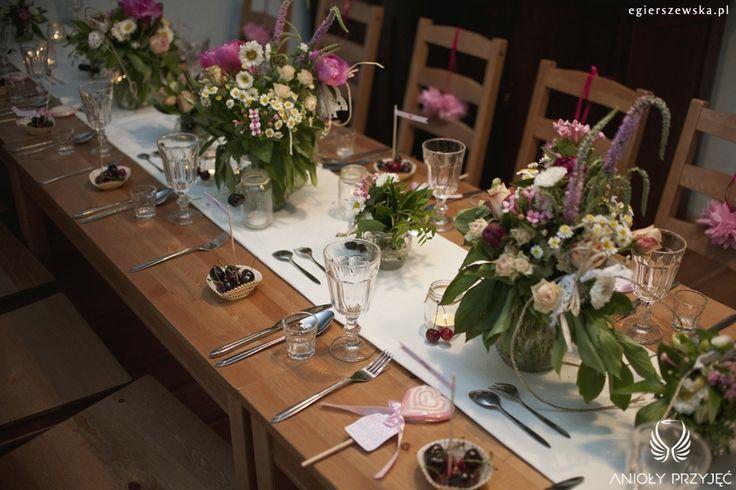 2. Cherry Wedding,Centerpiece,Field flowers  / Czereśniowe wesele,Dekoracje stołu,Polne kwiaty,Anioły Przyjęć