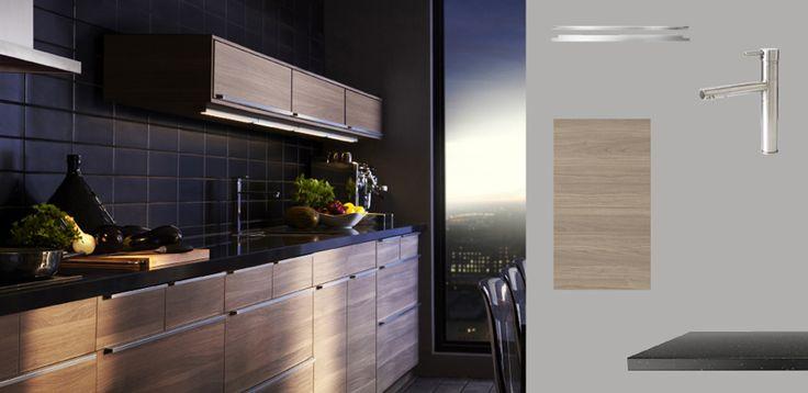 akurum kitchen with sofielund light grey walnut effect doors drawers and pr gel black mineral. Black Bedroom Furniture Sets. Home Design Ideas