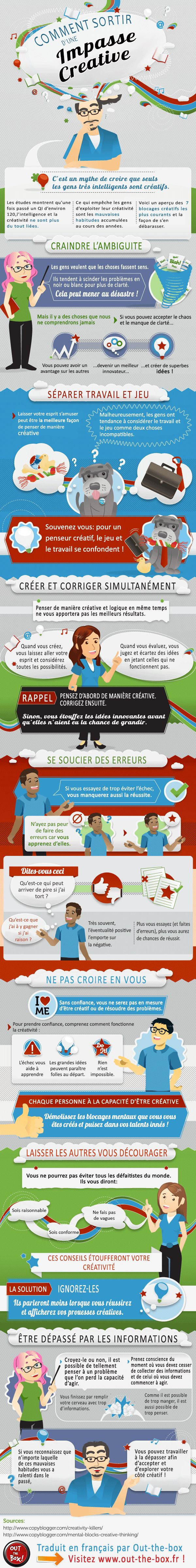 Infographie: comment sortir d'une impasse créative ? Tous les créatifs connaissent à un moment ou à un autre cette situation: le blocage créatif ! Continuez à lire sur : http://www.out-the-box.fr/infographie-comment-sortir-dune-impasse-creative/#ixzz37ZIfSYR2 Follow us: @outzebox on Twitter | OutTheBox.fr on Facebook