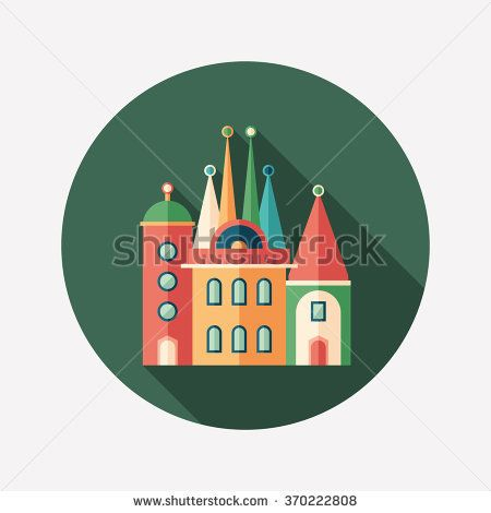 Fairytale castle flat round icon with long shadows. #buildingicon #flaticons #vectoricons #flatdesign