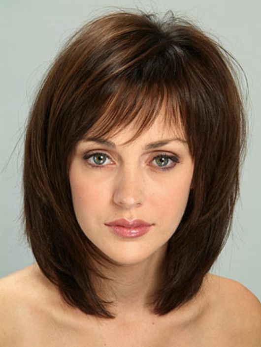 Shoulder-Length Hairstyles with Bangs | Medium Layered Bob Hairstyles for Women