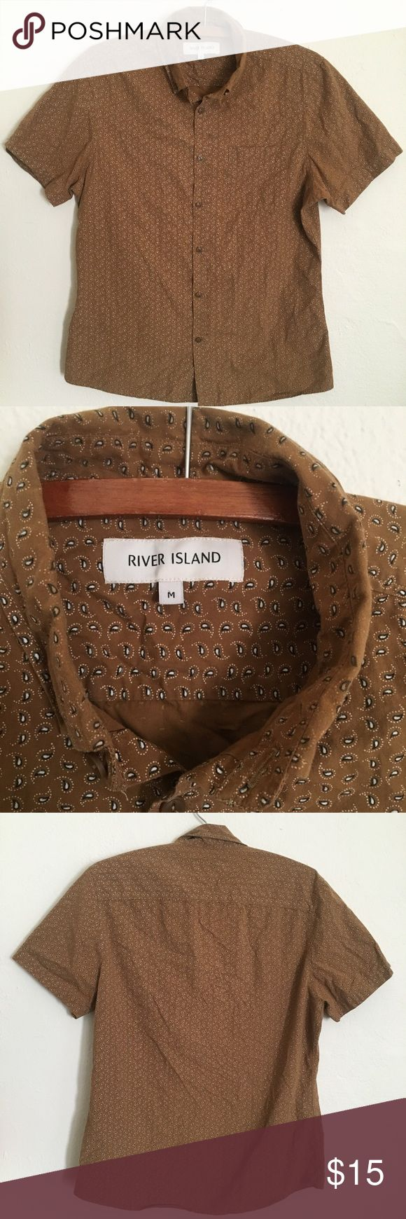 River Island tan paisley button up short sleeve Short sleeve tan button down shirt with chest pocket. Perfect for summer River Island Shirts Casual Button Down Shirts