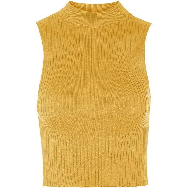 TOPSHOP '90s Knitted Ribbed Crop Top ($19) ❤ liked on Polyvore featuring tops, crop top, shirts, tank tops, topshop, ochre, rayon tops, ribbed shirt, rayon shirts and crop shirts