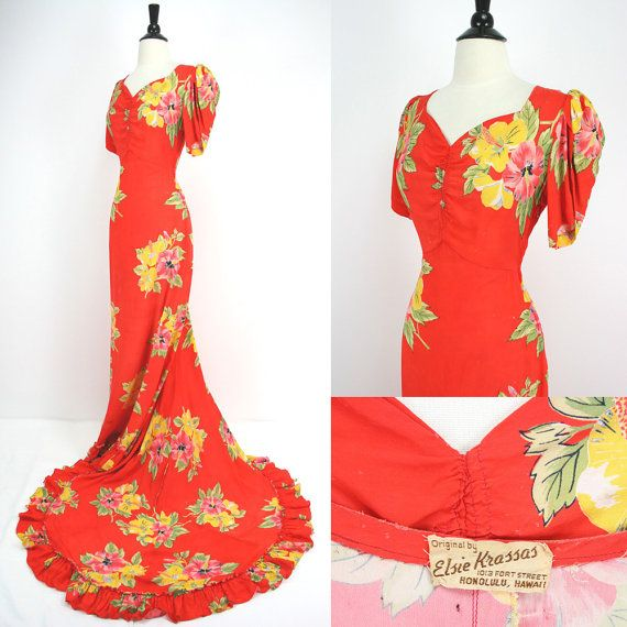 40s elsie krassas original holoku hawaiian vintage 40s for Hawaiian wedding dresses with sleeves