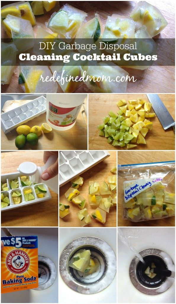 Do you have a funk coming from your garbage disposal? DIY these natural garbage disposal cleaning cocktail cubes (that use things in your fridge) to get rid of smells and provide a fresh scent in your kitchen via RedefinedMom.com