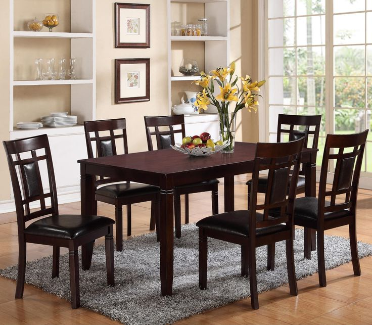 Paige 7 Piece Dining Room Set Dark Brown 2325 Rich Deep Finish Sophisticated Look That Brings Out The Upholstered Seat And Back On Chairs