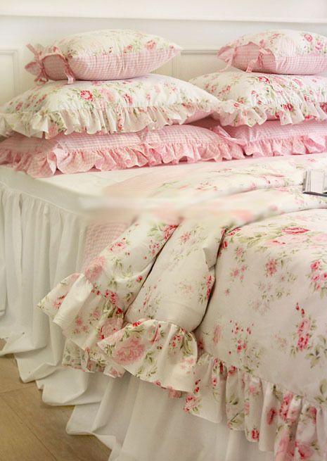 Shabby Chic Cottage цветочным рисунком одеяло пододеяльник подушка чехол комплект белый розовый королева