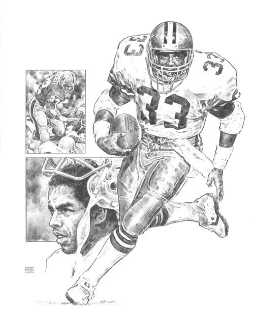 Tony Dorsett Dallas Cowboys Lithograph Limited Edition Artwork By Michael Mellett Cowboys Lithograph Collection by HOFGROUP on Etsy