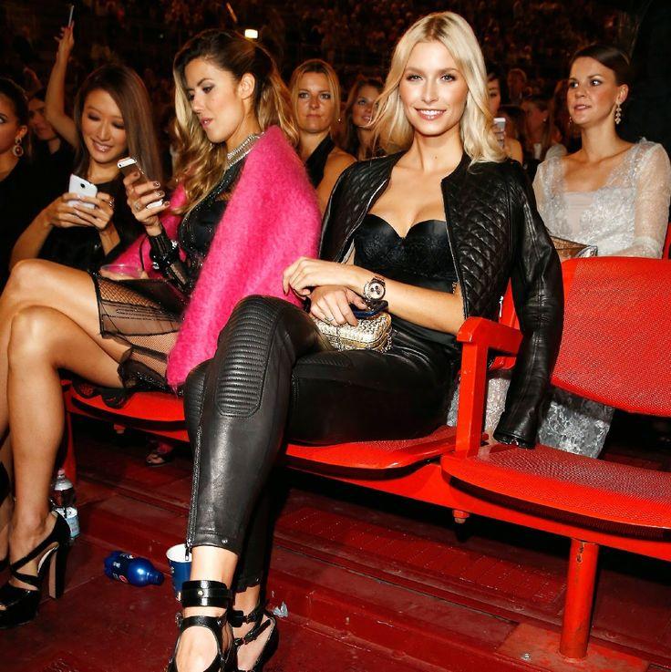 Celebrities In Leather: Lena Gercke wears tight black ...
