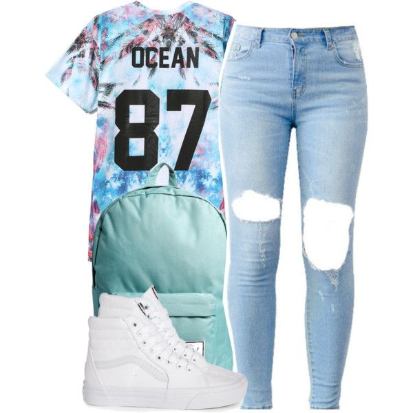 A fashion look from March 2015 featuring blue t shirt, vans high tops and herschel bags. Browse and shop related looks.