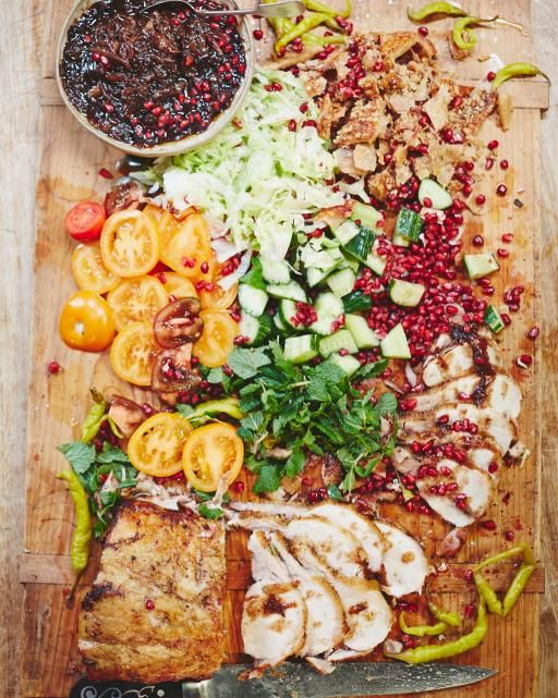i don't eat meat but this board is so beautiful from Jamie Oliver. I love his use of fresh herbs & veg always. Posh pork kebabs | Jamie Oliver | Food | Jamie Oliver (UK)