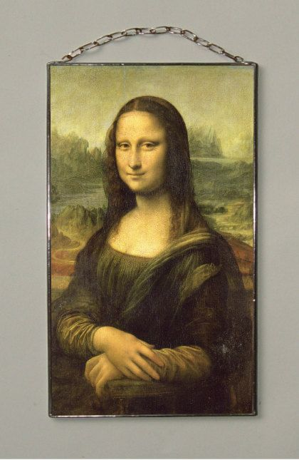 "Leonardo da Vinci. Mona Lisa. 177 x 127 mm (7"" x 5"") Glass-pasteboard window-pane with copy from artwork by Leonardo da Vinci"