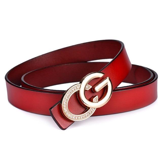 2018 Designer female red belt letter buckle luxury brand belts for women high qu