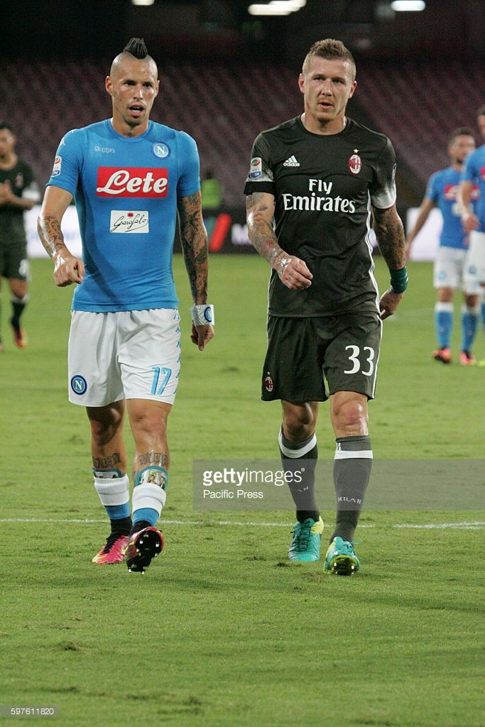 Marek Hamík (L) (SSC Napoli ) and Juraj Kucka (R) (AC Milan) in action during soccer match between SSC Napoli and AC Milan at San Paolo Stadium in Napoli. Final result Napoli vs. AC Milan 4-2.