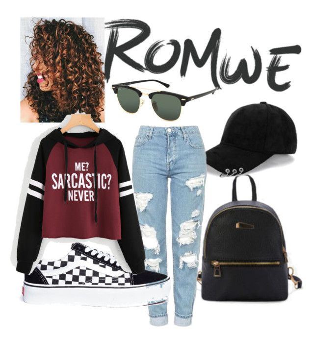 """Me?Sarcastic?Never."" by drumeaclementina on Polyvore featuring Vans, Ray-Ban, romwe and sarcastic"