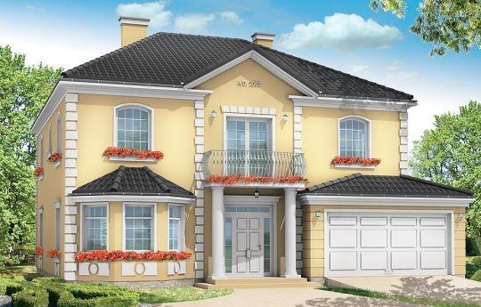 Projekt Stylowy to uroczy dom jednorodzinny, z serii naszych piętrowych budynków. Tym razem o trochę mniejszej powierzchni - jeśli nie liczyć piwnicy. Projekt przeznaczony jest dla rodziny 4-6cio osobowej. Dom zaprojektowano na planie zbliżonym do kwadratu, z wkomponowanym w bryłę główną garażem. Wykusze, balkony na kolumnach (wejściowy i ogrodowy), frontony, czy łukowo zakańczane piękne okna z podziałami. To wszystko daje domowi piękny klasyczny wygląd zewnętrzny.