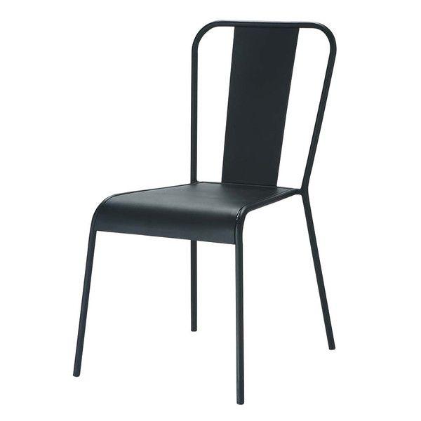 Chaise indus en métal noire - Factory