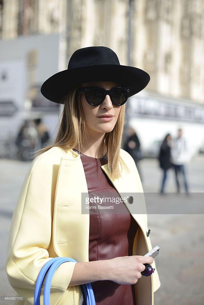 Silvia Torassa poses wearing Zara jacket, Save My Bag bag and Borsalino hat on February 25, 2015 in Milan, Italy.