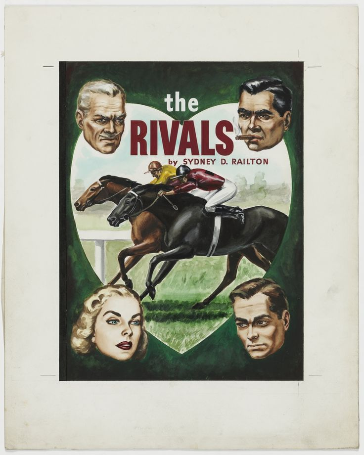 """'The Rivals', ca.1946, cover illustration for crime story """"pulp"""" published by Frank C. Johnson, Sydney."""