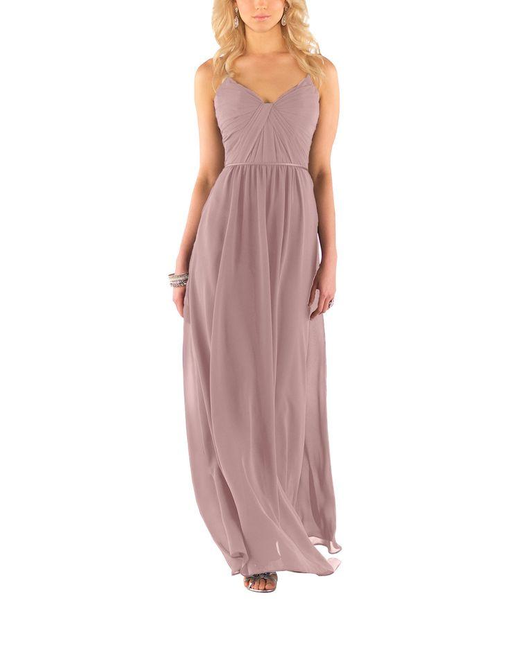 Description - Sorella Vita Style 8746 - Full length bridesmaid dress - Ruched V-neck bodice - Satin spaghetti straps and waistband - Flowing skirt - Chiffon